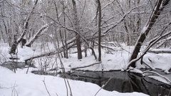 Cold spring river flows in the park, the banks are covered with snow and ice Stock Footage