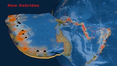 New Hebrides tectonics featured. Satellite imagery Stock Footage