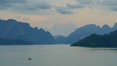Cheow Lan Lake at sunset, Khao Sok National Park Stock Footage