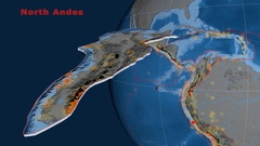 North Andes tectonics featured. Topo and bathy Stock Footage