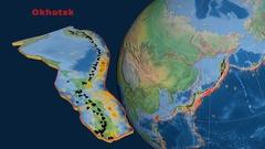Okhotsk tectonics featured. Natural Earth Arkistovideo