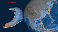 Okinawa tectonics featured. Topo and bathy Stock Footage
