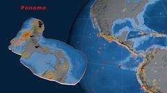 Panama tectonics featured. Topo and bathy Stock Footage