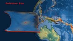 Solomon Sea tectonics featured. Relief Stock Footage