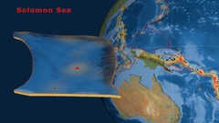 Solomon Sea tectonics featured. Satellite imagery Stock Footage