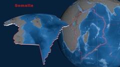 Somalia tectonics featured. Topo and bathy Stock Footage