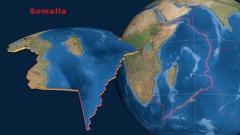 Somalia tectonics featured. Satellite imagery Stock Footage