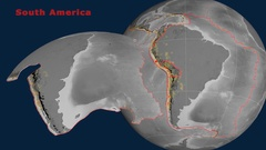 South America tectonics featured. Elevation grayscale Stock Footage