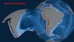South America tectonics featured. Topo and bathy Stock Footage