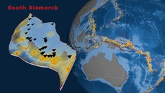South Bismarck tectonics featured. Topo and bathy Stock Footage