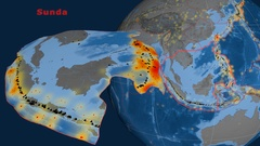 Sunda tectonics featured. Topo and bathy Stock Footage