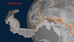 Woodlark tectonics featured. Elevation grayscale Stock Footage