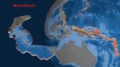 Woodlark tectonics featured. Topo and bathy Stock Footage