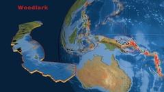 Woodlark tectonics featured. Satellite imagery Stock Footage