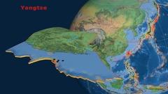 Yangtze tectonics featured. Natural Earth Stock Footage