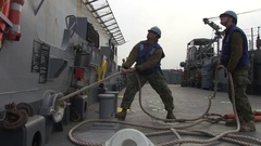 POHANG SOUTH KOREA, MARCH 2016, US sailors fix a rope. Stock Footage