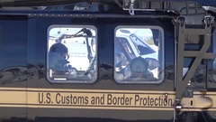 TUCSON, MARCH 2016, Soldiers officers sit in a helicopter of the Border Patrol. Stock Footage