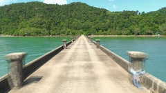 Pier stretching to the horizon on the lake Thailand Stock Footage
