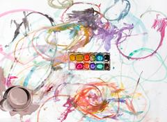 Colored paint on Whatman paper Stock Photos