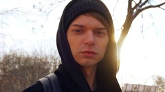 A portrait of European gay men in the Park. Sunny winter's day Stock Footage