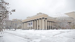 Siberia winter theatre of Opera and Ballet Stock Footage