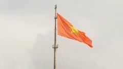 Vietnam flag on flag pole in Hue Citadel Stock Footage