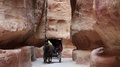 People in horse-drawn carriage in Siq - near ancient city of Petra in Jordan HD Footage