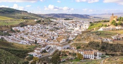 Panoramic view on historical town Antequera Stock Footage