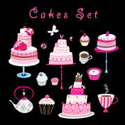 Vector set of sweet cakes and pastries Stock Illustration
