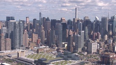 AERIAL: Glassy skyscrapers and condominium apartment buildings in busy New York Stock Footage