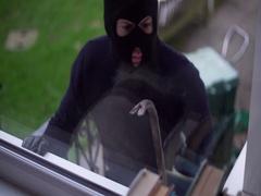 Burglar Thief Breaking Entering Alarm Home Crime Burglary Steal Balaclava Stock Footage