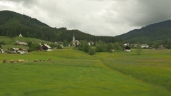 Gosau, Upper Austria, hills from moving vehicle Stock Footage