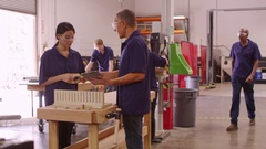 Carpenters With Machines In Woodworking Workshop  Stock Footage