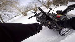 Snowblower pov pull starting the machine gopro chest mount Stock Footage