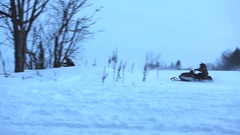 Vintage skidoo race corner drift bar to bar Stock Footage