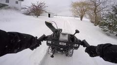 Snowblower pov gopro slow motion chesty Stock Footage