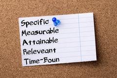Specific Measurable Attainable Releveant Time-Bound SMART - teared note pap.. Stock Photos