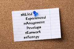SkiLled Experienced mAnagement Develops tEamwork stRategy LEADER - teared n.. Stock Photos