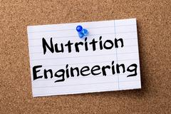 Nutrition Engineering - teared note paper pinned on bulletin board Stock Photos
