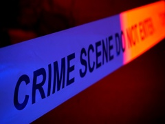 Crime Scene flashing lights police car at night outside. Murder investigation Stock Footage