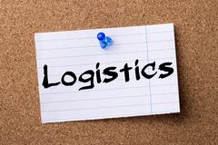 Logistics - teared note paper pinned on bulletin board Stock Photos