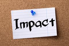 Impact - teared note paper pinned on bulletin board Stock Photos