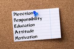 Direction Responsibility Education Attitude Motivation DREAM - teared note .. Stock Photos