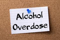 Alcohol Overdose - teared note paper pinned on bulletin board Stock Photos