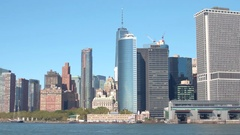 CLOSE UP: Glassy skyscrapers and luxury waterfront condos in Lower Manhattan Stock Footage