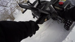 Snowblower pov 4k pull start and blowing fresh snow Stock Footage