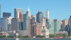 Iconic highrise buildings and contemporary glassy skyscrapers in Lower Manhattan Stock Footage