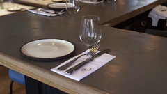 Place settings at bar in an empty restaurant, camera slider Stock Footage
