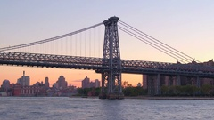 CLOSE UP: Williamsburg Bridge looking towards the Lower East Side of Manhattan Stock Footage