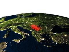 Serbia from space at night Stock Illustration